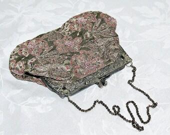 Vintage Evening Bag with Floral Pattern and Brass Figural Frame