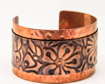 Handmade Emboss Hammered  Copper Cuff Bracelet