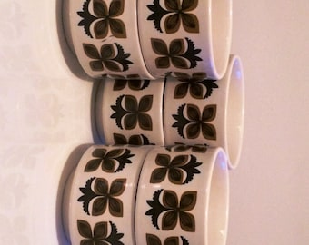 "Vintage 1960s Staffordshire ""Ironstone"" Handled Soup Bowls, Set of 6 in excellent condition"