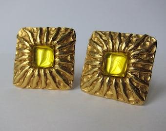 Clips Jean PATOU 1980 Vintage Golden Metal earrings