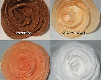 Edible Wafer Flower Roses Cupcake/Cake Toppers Neutral Colors Brown White Champagne Cream Peach Wedding Shower Groom Cake Choose your Color