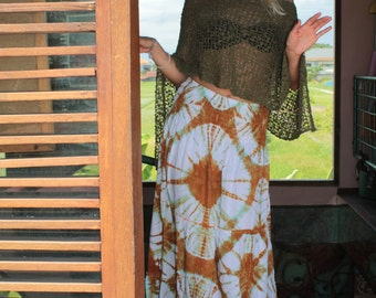 Summer hippie Maxi skirt with batik print
