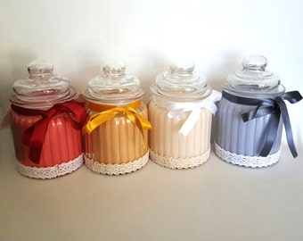 Scented natural soy - raspberry, caramel wax, coconut, lavender