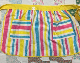 Vintage Deadstock Neon Striped Terry Cloth Waist Apron