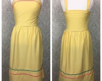 Vintage Walden Classics sz 8 Womens Yellow Empire Waist Sundress Dress