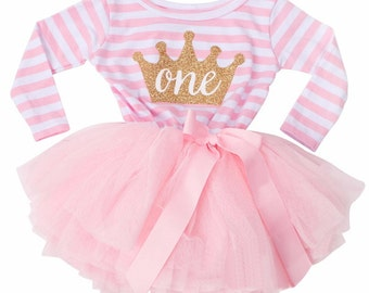Pink 1st BIRTHDAY girls TUTU DRESS  Party Outfit Cake Smash Gold Glitter Tiara Crown Striped Bow Ribbon