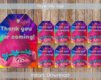 Trolls Thank You Tags Trolls Gift Tags Trolls Tags Trolls Birthday Thank You Tags INSTANT DOWNLOAD