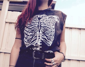BONES SKELETON Tank Tee T shirt Black festival thrashed tipped bleached distressed L