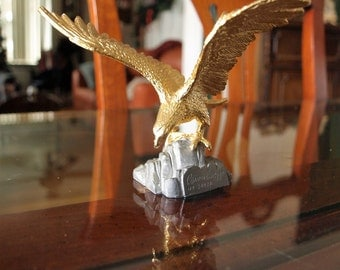 American Eagle Sculpture Landing On Rock by Carver E. Tripp in Pewter with 24k Gold Leaf Limited Edition  No. 3402A