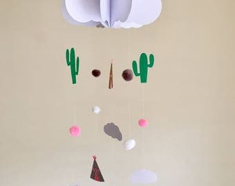Baby Mobile - Cloud Baby Mobile, Cactus Mobile, Hanging Baby Mobile, Nursery Mobile, 3D Paper Mobile, Teepee Baby Mobile