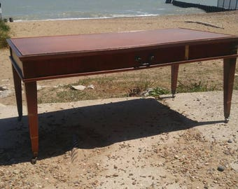 Amergold Leather Top Coffee Table with Drawer