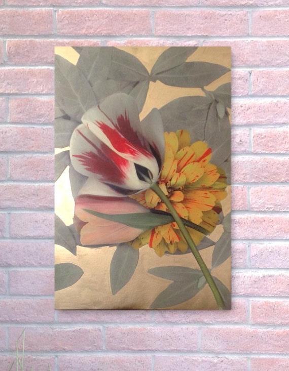 """Hand painted digital scan of real flowers on stretched canvas. 22"""" x 32"""" Actual flowers enhanced and embellished. Metallic paint background."""