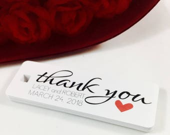 Wedding Favor Gift Tags, Custom Tags, Wedding Thank you, Thank you Tags, Wedding Tag, Bridal Shower Tag, Set of 18