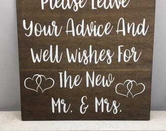 Please Leave Your Advice And Well Wishes For The New Mr & Mrs Wedding Sign-Rustic Wedding Sign-Mr And Mrs Wood Sign