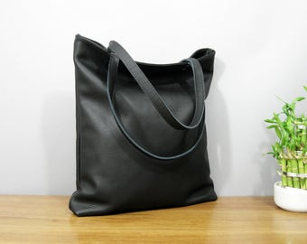 summer sale Large Black Leather Tote Bag oversized black