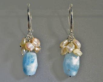 Silver earrings with aquamarine and Pearl