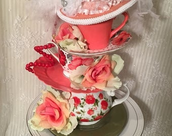Tea Party Centerpiece, Bridal Shower Centerpiece, Wedding, Stacked Teapot, Stacked Teacup, Garden Party, Mad Hatter hat, Alice in Wonderland