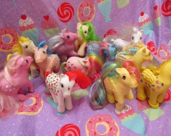 Vintage My Little Pony Lot of 13 Ponies 1983-1989