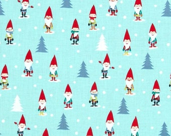 Michael Miller Holly Jolly Gnomes Woven Cotton Fabric - By the Yard