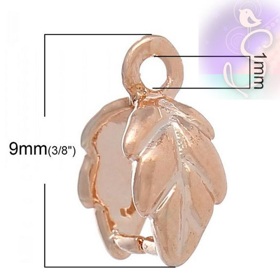 4 Bails Tiny Leaf Pinch Bail Rose Gold Tone Jewelry