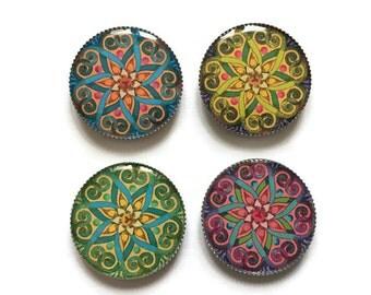 Mandala magnets or mandala pins, India magnets, India pins, refrigerator magnets, fridge magnets, office magnets