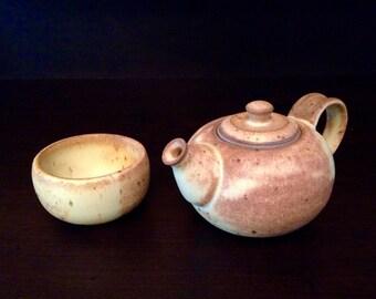 Teapot & Teabowl Set | Stoneware Pottery | Wheel Thrown | Handmade | Ceramics