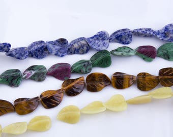 Leaf Shape Gemstone Beads, Sodalite, Ruby Zoisite, Tiger Eye, Serpentine, Semi-Precious Stones, Natural Beads, Priced per Strand, LEAF01