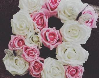 Wooden Floral Filled Letters