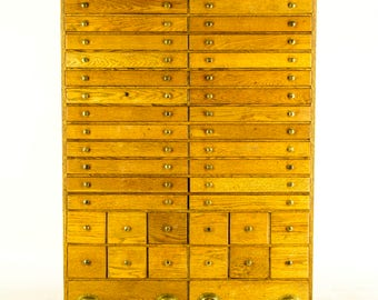 B684 Vintage Solid Oak 44 Drawer File Cabinet, Office Library Chest, Collectors Cabinet 1930s