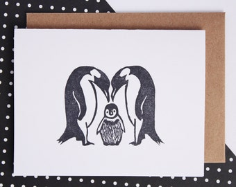 baby shower card, new parents card, new baby card, penquin card, family card, congratulations card, baby penguin, greeting card