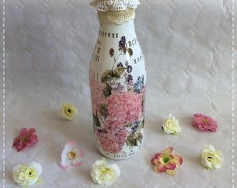 Bottle, scene Hotensien, Upcycling, glass, decoration, gift, vintage, shabby,.
