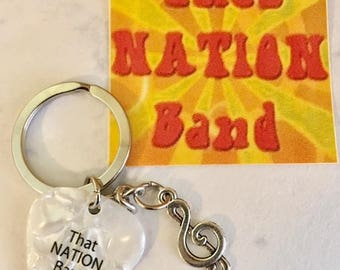 That NATION Band Treble Clef with That NATION Band White Guitar Pick Key Ring
