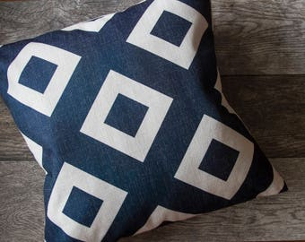 Navy Blue Pillow Cover, Navy Blue Pattern Pillow Cover, Blue Throw Pillow, Cushion Cover, Ocean Theme, Nautical Pillow Cover