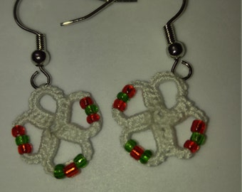 Hand tatted white with red and green beads earrings copper free