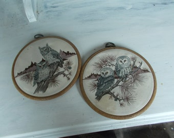 vintage owl fabric  and frames x 2