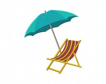 Beach chair embroidery design, beach umbrella embroidery design, beach embroidery design