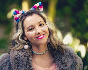 Cat Ear Headband with Pom Poms