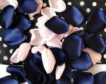 Navy and Pink confetti, party confetti, bridal shower confetti, bridal brunch decorations, wedding confetti, wedding toss, rose petals.
