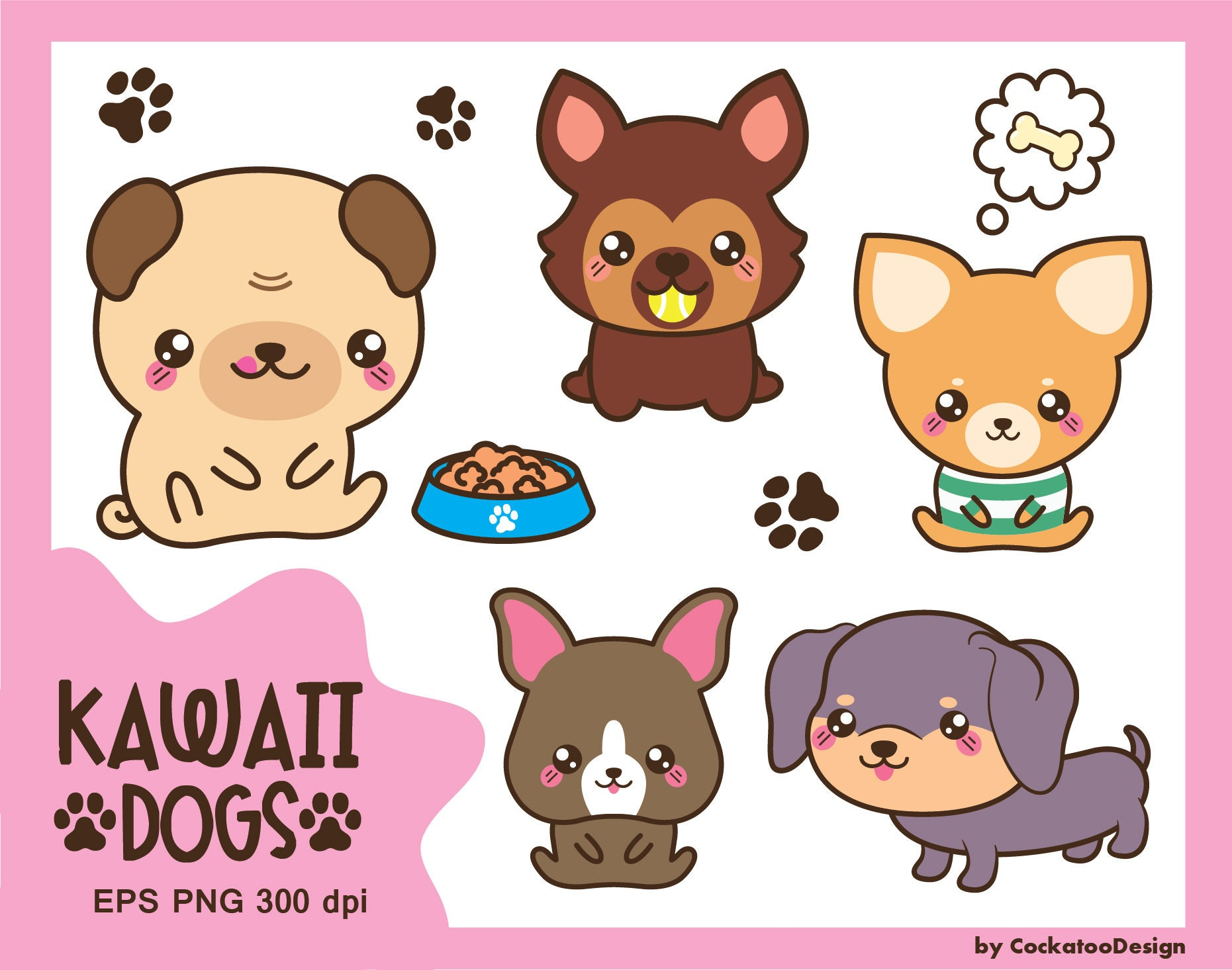 30 Off Kawaii Dog Clipart Cute Dog Clipart Dog Breeds