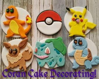 CUSTOM LISTING for Lee Pantz Edible Fondant Pokemon Cupcake Toppers x 24 + 3D Pikachu, Squirtle  and Baulbasaur.