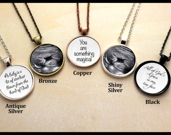 Personalized, Pendant, Double Sided, Sonogram, Baby Ultrasound, Necklace, From the Hand of God, Birth Announcement