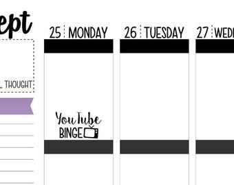 YouTube Binge Planner Stickers
