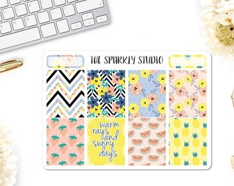 Sunny Days Full Boxes Planner Stickers