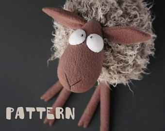 Sheep toy pattern, fur toy pattern, DIY pillow soft toy pattern