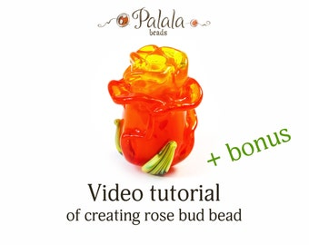 Lampwork flower beads tutorial video, The making of glass beads