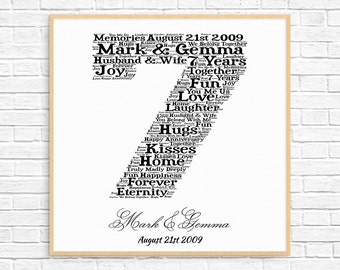 PERSONALIZED 7th ANNIVERSARY Gift ~ Word Art ~ Printable Art ~ Unique Anniversary gift ~ 7 Year Wedding Anniversary ~ Unique Gift