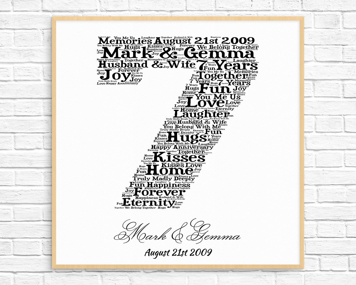 PERSONALIZED 7th ANNIVERSARY Gift Word Art Printable