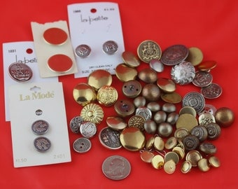 Vintage Silver and Gold Colored Buttons, Vintage Buttons, Metal Buttons, Assorted Buttons, Craft Buttons, Sewing Buttons,  Shank Buttons