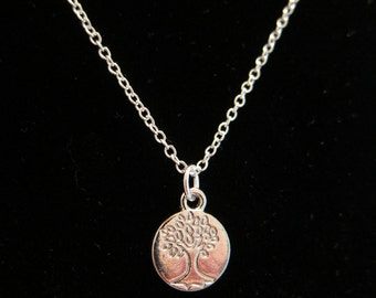 """Tree of Life charm on an 18"""" silver plated 1mm rolo chain"""