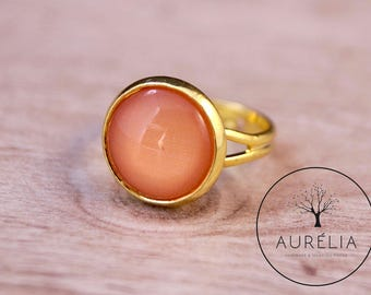 """Gold-plated ring """"Friendship"""" apricot"""